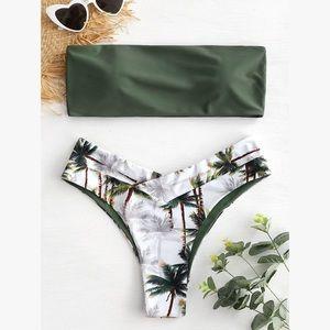 Other - Palm Tree Bandeau Reversible Bikini Set